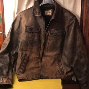 BKE distressed leather jacket mens large